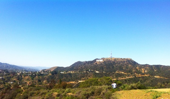 Hollywood sign in the distance.