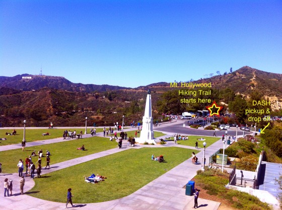 View from atop the Griffith Observatory overlooking the grounds, Mt Hollywood and the Hollywood sign.